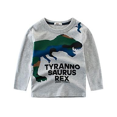 baratos Camisas para Meninos-Infantil Para Meninos Básico Dinossauro Listrado Estampado Manga Longa Algodão Blusa Branco