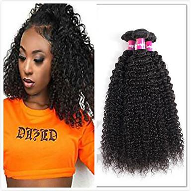voordelige Weaves van echt haar-4 bundels Braziliaans haar Kinky Curly Mensen Remy Haar Menselijk haar weeft Bundle Hair Een Pack Solution 8-28inch Natuurlijke Kleur Menselijk haar weeft Eenvoudig Geurvrij Mini Extensions van echt