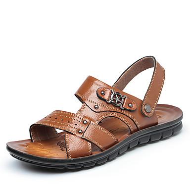رخيصةأون Summer Sales-رجالي أحذية جلدية جلد الصيف كاجوال صنادل أحذية الماء / المشي متنفس أسود / بني