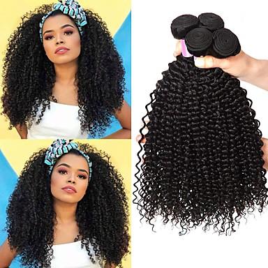 voordelige Weaves van echt haar-6 bundels Braziliaans haar Kinky Curly Mensen Remy Haar Menselijk haar weeft Bundle Hair Een Pack Solution 8-28inch Natuurlijke Kleur Menselijk haar weeft Pasgeboren Waterherfst Schattig Extensions