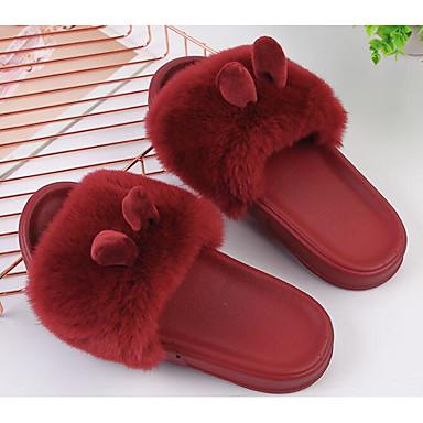 e69ef7ad60e Γυναικεία Φο Γούνα Φθινόπωρο & Χειμώνας Παντόφλες & flip-flops Επίπεδο  Τακούνι Μαύρο / Καφέ / Κρασί