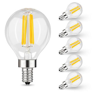 billige Elpærer-6pcs 4 W LED-glødepærer 400 lm E14 G45 4 LED perler Høyeffekts-LED Dekorativ Varm hvit 220 V 110 V