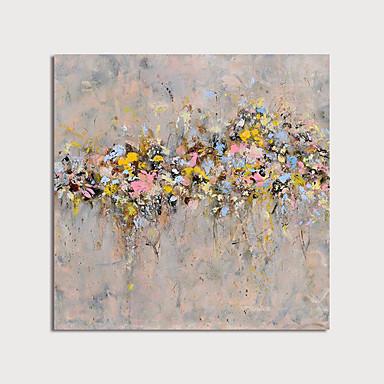 abordables Peintures à l'Huile-Peinture à l'huile Hang-peint Peint à la main - Abstrait A fleurs / Botanique Moderne Inclure cadre intérieur