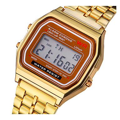 baratos Relógios Homem-Casal Relogio digital Digital Aço Inoxidável Prata / Dourada Luz LED Relógio Casual Digital Vintage Fashion - Dourado Prata Um ano Ciclo de Vida da Bateria