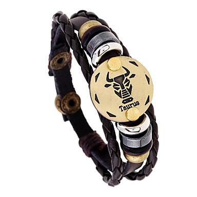 voordelige Herensieraden-Heren Vintage Armbanden Gevlochten Taurus Punk Leder Armband sieraden Koffie Voor Lahja Dagelijks