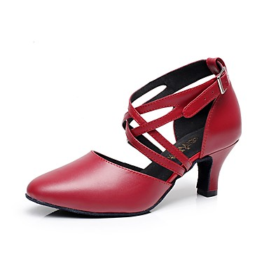 Cordiale Per Donna Scarpe Per Danza Moderna Di Pelle Tacchi A Fantasia Tacco Cubano Personalizzabile Scarpe Da Ballo Rosso #07248905