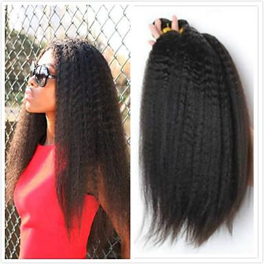 voordelige Weaves van echt haar-4 bundels Braziliaans haar KinkyRecht 100% Remy haarweefselbundels Menselijk haar weeft Bundle Hair Een Pack Solution 8-28inch Natuurlijke Kleur Menselijk haar weeft Schattig Veiligheid Creatief