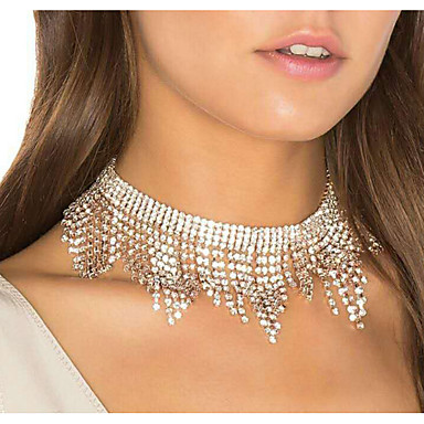 billige Mote Halskjede-Dame Choker Halskjede Dusk Luksus Brude Fuskediamant Sølv 30 cm Halskjeder Smykker 1pc Til Bryllup Klubb
