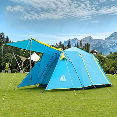 رخيصةأون مفارش و خيم و كانوبي-Hewolf 5 شخص خيمة التخييم العائلية في الهواء الطلق ضد الهواء مكتشف الأمطار يمكن ارتداؤها طبقات مزدوجة قطب الماسورة خيمة التخييم >3000 mm إلى Camping / Hiking / Caving تنزه