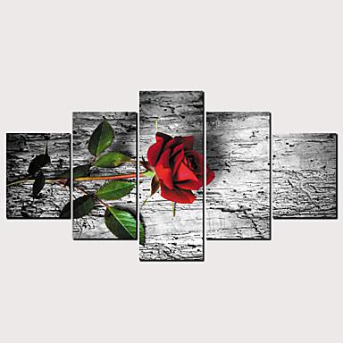 abordables Toiles-Imprimé Impressions sur toile roulées - Romance A fleurs / Botanique Classique Moderne Cinq Panneaux Art Prints