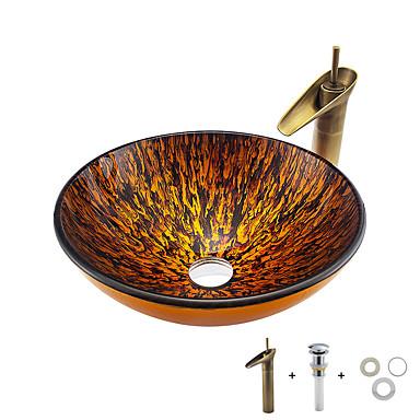 Kylpyhuoneen allas / Kylpyhuoneen hana / kylpyhuoneen asennusrengas Nykyaikainen - Karkaistu lasi Pyöreä Vessel Sink