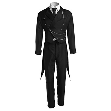Inspired by Black Butler Sebastian Michaelis Anime Cosplay Costumes Cosplay Suits Solid Colored Long Sleeve Vest / Shirt / Pants For Men's / Women's / Gloves / Tuxedo