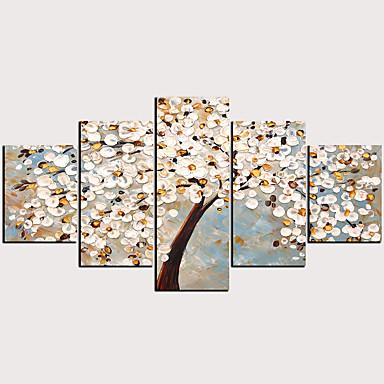 abordables Toiles-Imprimé Impressions sur toile roulées - Abstrait A fleurs / Botanique Classique Moderne Cinq Panneaux Art Prints