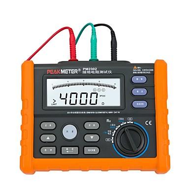 voordelige Test-, meet- & inspectieapparatuur-peakmeter pm2302 digitale aardingsweerstandspanningsmeter 0 ohm tot 4k ohm 100 groepen datalogging met achtergrondverlichting