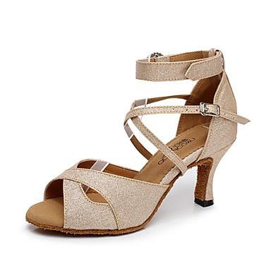 ae0ae014cfa2 Žene Cipele za latino plesove Sintetika Štikle Isprepleteni dijelovi Tanka  visoka peta Moguće personalizirati Plesne cipele Zlato   Crn   Pink