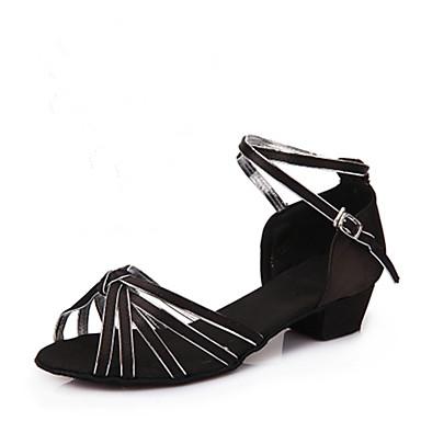 baratos Sapatos de Samba-Mulheres Sapatos de Dança Cetim Sapatos de Dança Latina / Dança de Salão Salto Salto Robusto Não Personalizável Dourado / Couro