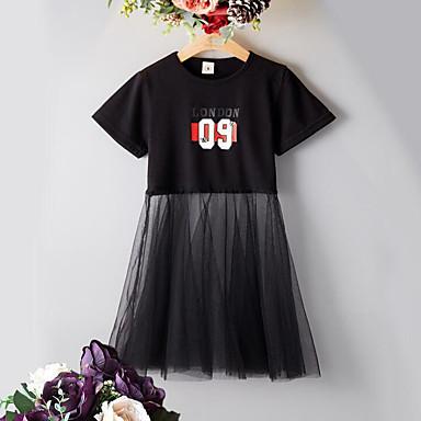baratos Vestidos para Meninas-Infantil Para Meninas Activo Moda de Rua Retalhos Letra Com Transparência Patchwork Manga Curta Vestido Preto