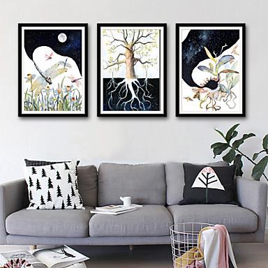 Framed Canvas Framed Set - Animals Floral / Botanical Plastic Illustration Wall Art