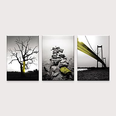 Boyama Haddelenmiş Kanvas Tablolar - Modern Soyut Manzara Modern Üç Panelli Sanatsal Baskılar