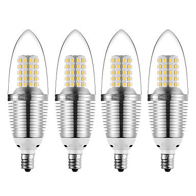 abordables Ampoules électriques-4pcs 12 W Ampoules Bougies LED 1200 lm E12 72 Perles LED SMD 2835 Décorative Blanc Chaud Blanc Froid 85-265 V