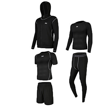 5pcs Miesten Verryttelypuku Urheilu Color Block Liikunta-asut Fitness Activewear Hengittävä Nopea kuivuminen Hikeä siirtävä Power Flex