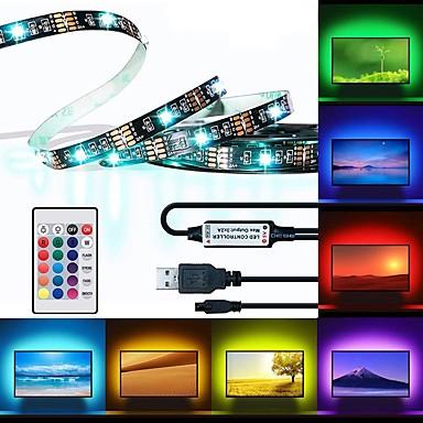 billige LED Strip Lamper-BRELONG® 3M RGB-lysstriper 90 LED 5050 SMD 1 24Kjør fjernkontrollen RGB Vanntett / Kuttbar / USB 5 V 1pc