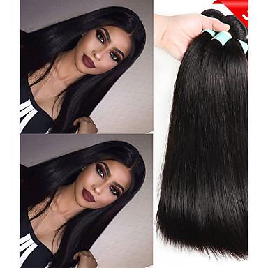 6 Bundles Indian Hair Straight Unprocessed Human Hair Natural Color Hair Weaves / Hair Bulk Bundle Hair One Pack Solution 8-28 inch Natural Color Human Hair Weaves Life Soft Thick Human Hair