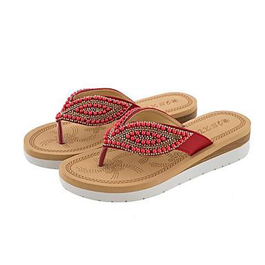 Kadın's Ayakkabı PU Yaz Tatlı Terlik & Flip-flops Dolgu Topuk Açık Uçlu Günlük / Kumsal için İnci Kırmzı / Yeşil / Mavi