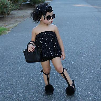 cheap Girls' Clothing Sets-Kids / Toddler Girls' Active / Street chic Polka Dot Sleeveless Cotton / Polyester Clothing Set Black