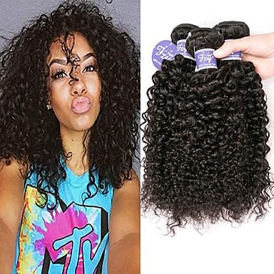 baratos Extensões de Cabelo Natural-3 pacotes Cabelo Malaio Encaracolado Kinky Curly Não processado Cabelo Natural 100% Remy Hair Weave Bundles Peça para Cabeça Cabelo Humano Ondulado Cabelo Bundle 8-28 polegada Natural Tramas de