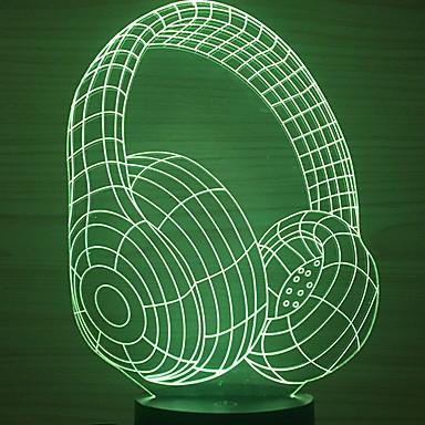 1kpl: n johtama kuulokkeen muotoinen yövalon väri muuttuu usb-luova <= 36 V>