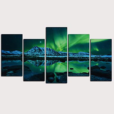 hesapli Tablolar-Boyama Haddelenmiş Kanvas Tablolar - Soyut Manzara Klasik Modern Beş Panelli Sanatsal Baskılar
