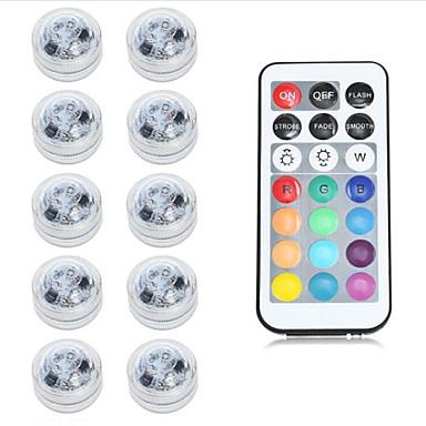 billige Utendørsbelysning-10pcs 1 W Undervannslys Vanntett / Fjernstyrt RGB 2 V Svømmebasseng / Egnet for vaser og akvarier 2 LED perler