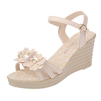 cheap Women's Sandals-Women's PU(Polyurethane) Summer Casual Sandals Wedge Heel Satin Flower Beige / Dark Blue