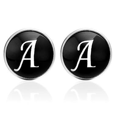 Alfabetico Nero - Argento - Marrone Gemelli Vetro - Rame Lettere Dell'alfabeto Abbigliamento - Coreano Unisex Bigiotteria Per Per Uscire - San Valentino #07236638 Aspetto Elegante