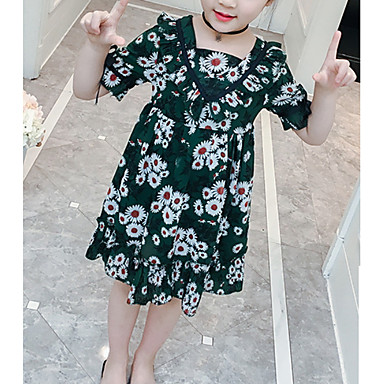 424afe2c24e Παιδιά Κοριτσίστικα Φλοράλ Πάνω από το Γόνατο Φόρεμα Πράσινο του τριφυλλιού