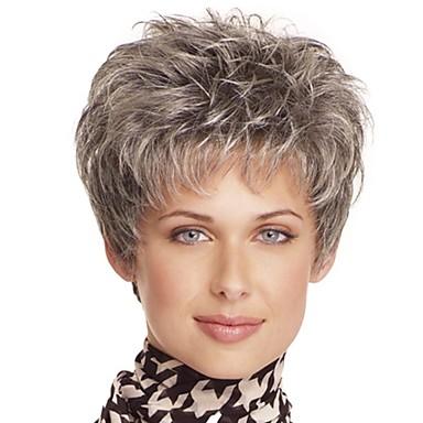 Synteettiset peruukit / Otsatukat Kihara Tyyli Vapaa osa Suojuksettomat Peruukki Ruskea Vaalean ruskea Synteettiset hiukset 12 inch Naisten Muodikas malli / Naisten / synteettinen Ruskea Peruukki