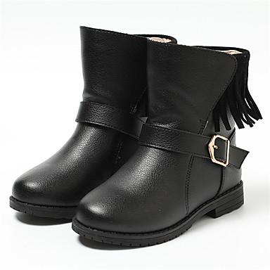 Tyttöjen Nahka Bootsit Taapero (9m-4ys) / Pikkulapset (4-7 vuotta) / Suuret lapset (7 vuotta +) Muotisaappaat / Turkisvuoraus Tupsuilla Musta / Punainen Talvi / Syystalvi / Säärisaappaat / Kumi