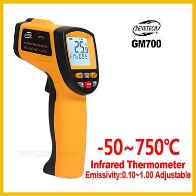 voordelige Test-, meet- & inspectieapparatuur-gm700 non-contact 12: 1 lcd-scherm ir infrarood digitale temperatuur pistool thermometer -50 ~ 700c (-58 ~ 1292f) 0.1 ~ 1.00 verstelbare