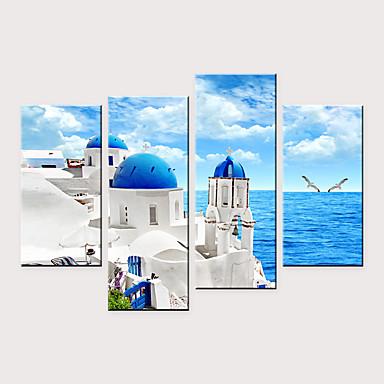 abordables Toiles-Imprimé Impressions sur toile roulées - Paysage Romance Moderne Quatre Panneaux Art Prints