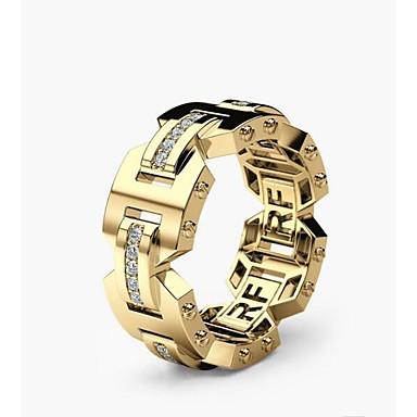 voordelige Herensieraden-Heren Dames Verlovingsring 1pc Goud Goud Rose Koper Geometrische vorm Stijlvol Verloving Dagelijks Sieraden Klassiek Vreugde Mes rand Schattig