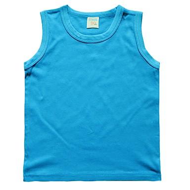 baratos Camisas para Meninos-Infantil Bébé Para Meninos Básico Sólido Sem Manga Algodão Top e Camisete Amarelo