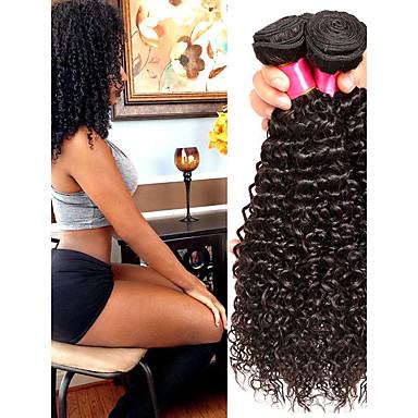 baratos Extensões de Cabelo Natural-6 pacotes Cabelo Malaio Kinky Curly Cabelo Virgem Cabelo Humano Ondulado Cabelo Bundle Um Pacote de Solução 8-28inch Côr Natural Tramas de cabelo humano Cascata Fofinho Design Moderno Extensões de
