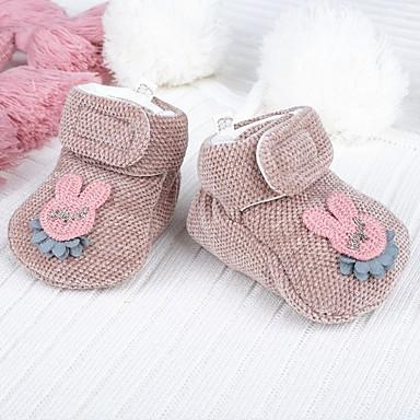 voordelige Babyschoenentjes-Meisjes Tricot Laarzen Zuigelingen (0-9m) Comfortabel / Eerste schoentjes Fuchsia / Donker Bruin / Khaki Herfst winter / Korte laarsjes / Enkellaarsjes