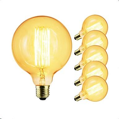 6kpl 40 W E26 / E27 G125 läpinäkyvä Body Himmennetty Vintage Edison-hehkulamppu 220-240 V / 110-120 V