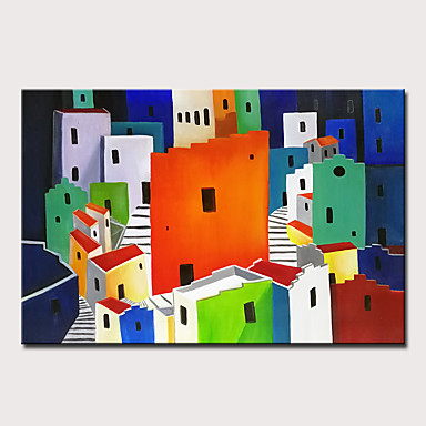 Peinture à l'huile Hang-peint Peint à la main - Abstrait Paysage Moderne Inclure cadre intérieur / Toile tendue