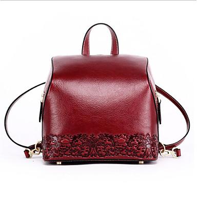 abordables Sacs-Femme Sacs Cuir de Vachette sac à dos Fermeture Noir / Rouge