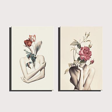 povoljno Ukrašavanje zidova-Print Rolled Canvas Prints Stretched Canvas Prints - Ljudi Cvjetni / Botanički Moderna Umjetničke grafike