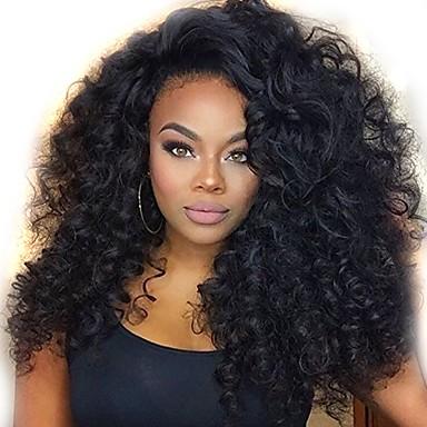Χαμηλού Κόστους Ομορφιά και μαλλιά-Συνθετικές Περούκες Κατσαρά Ίσια Στυλ Μέσο μέρος Χωρίς κάλυμμα Περούκα Μαύρο Μαύρο Συνθετικά μαλλιά 16 inch Γυναικεία Γυναικεία Μαύρο Περούκα Μακρύ Φυσική περούκα