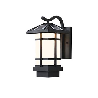billige Utendørsbelysning-QINGMING® 1pc 3 W Solar Wall Light Vanntett / Solar / Lysstyring Varm hvit + hvit 3.7 V Utendørsbelysning / Courtyard / Have 1 LED perler